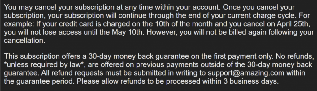Amazing.com Refund Policy