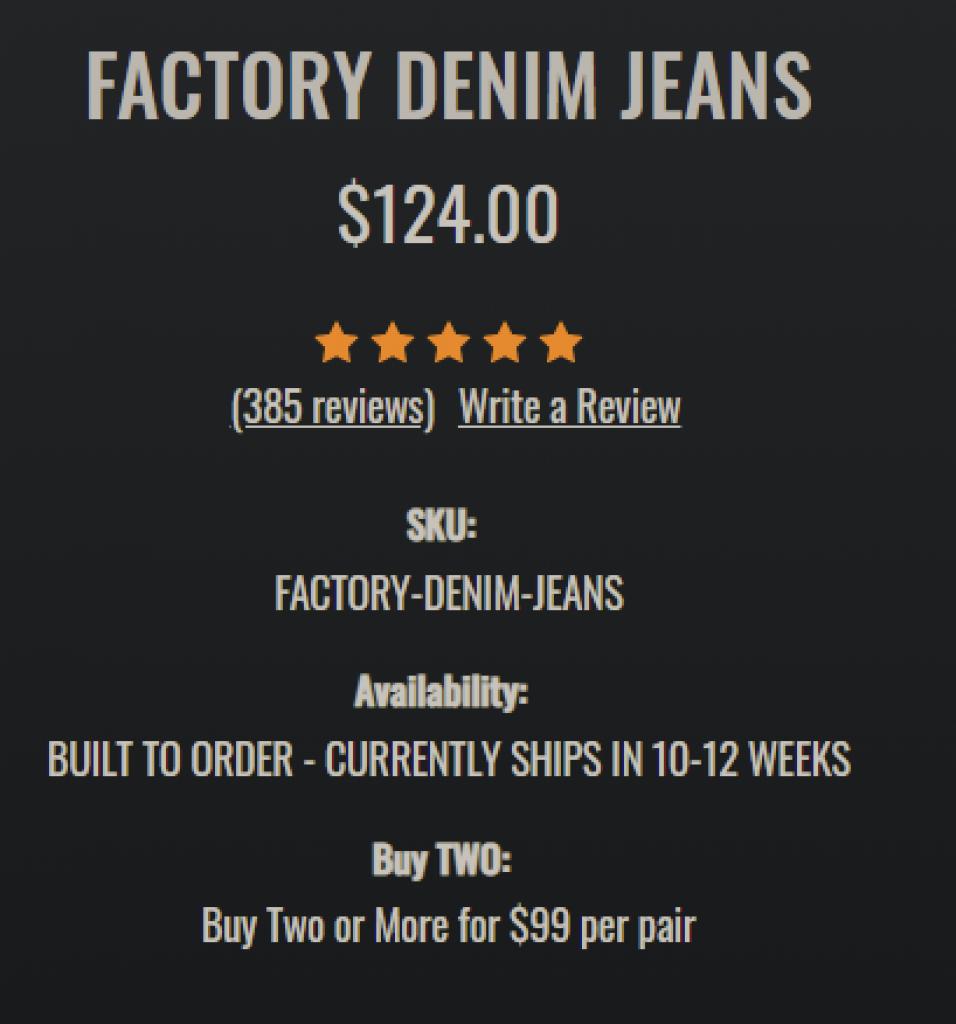 Jocko Jeans is overpriced