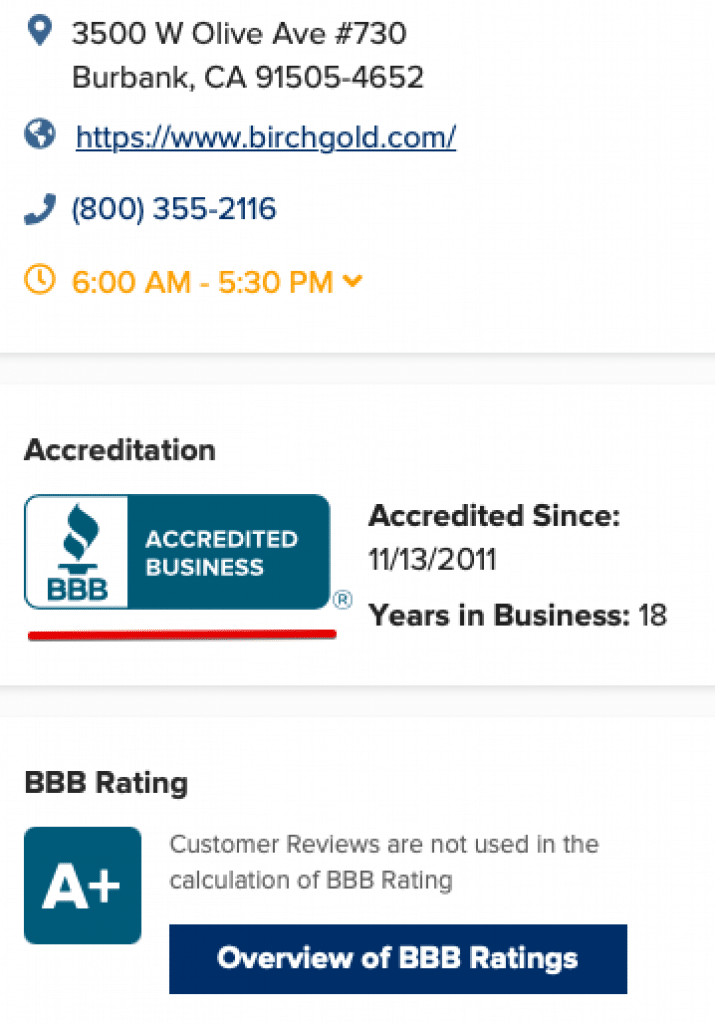 Birch Gold Group BBB Rating