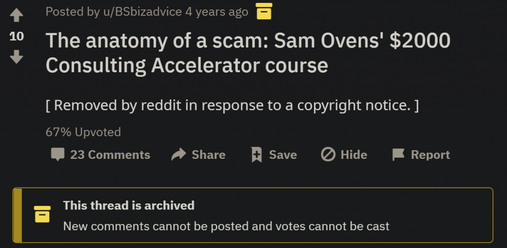 Consulting Accelerator course review taken down by fake DMCA