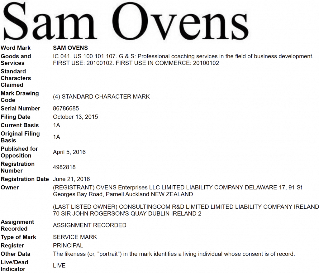 "Fake DMCA Sam Ovens ""word mark"""