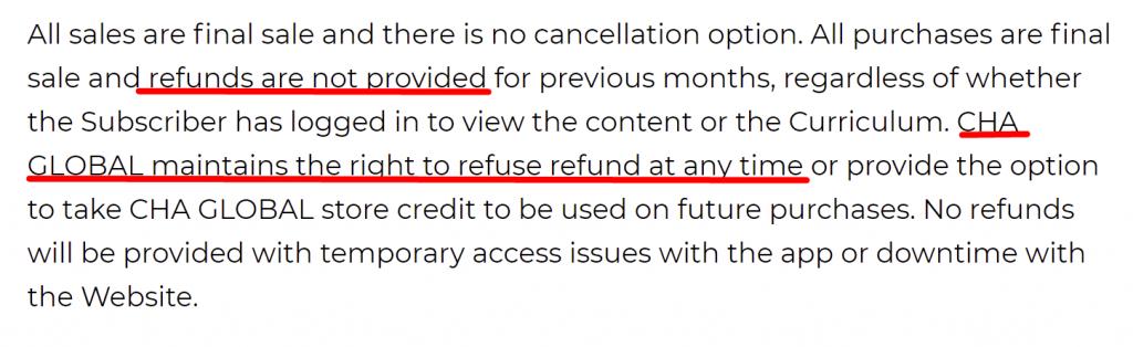 Julia Cha refund policy