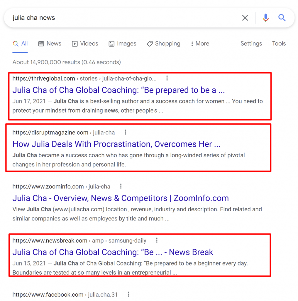 Julia Cha fake news
